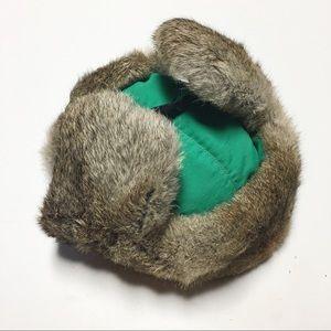Mad Bomber Accessories - Mad Bomber Rabbit Fur Green Aviator Hat Sz Small